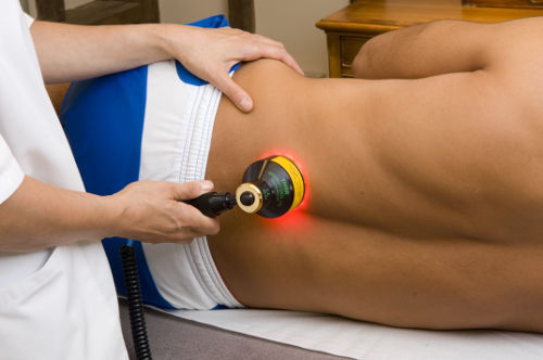Photograph laser therapy on the back